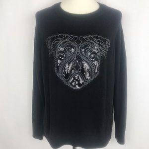 H&M Black Sequin Pug Alpaca Blend Sweater Size M